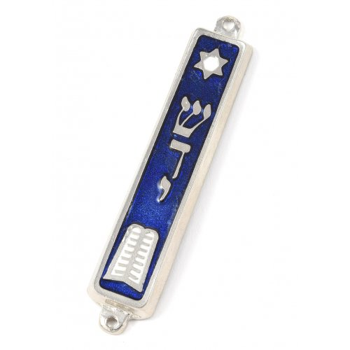 10 Commandments Mezuzah Torah Decorative in Nickel - Blue and Silver