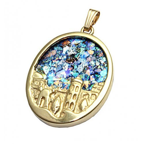 14K Gold Oval Pendant with Roman Glass and Sculpted Jerusalem Image