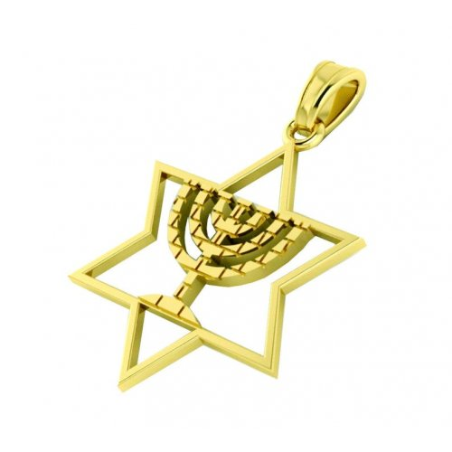 14K Gold Star of David Pendant with Decorative Menorah in Center