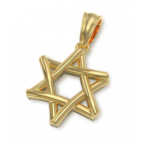 14K Gold interlocked Star of David Pendant