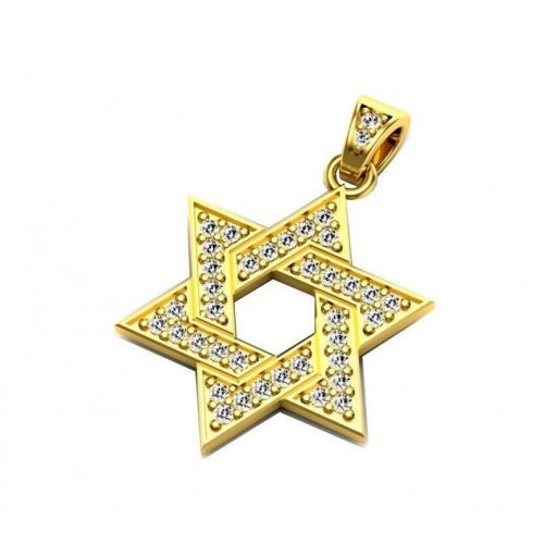 14k Gold Star of David Pendant Encrusted with Natural Diamonds