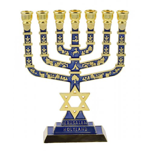 7-Branch Menorah on Square Base with Gold Images and Star of David - Dark Blue