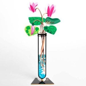 Tzuki Art Hand Painted Flower Tube Sculpture - Pink Cyclamen