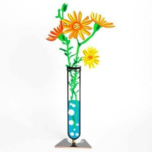 Tzuki Art Hand Painted Flower Tube Sculpture - Orange Senecio Daisies