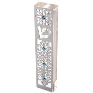 Dorit Judaica Laser Cut Steel Mezuzah Case Arabesque - Swarovski Stones