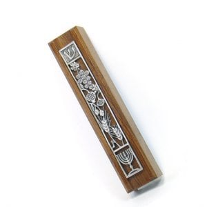 Dark Wood Seven Species Mezuzah