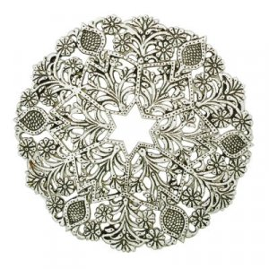 Yair Emanuel Circular Trivet Silver - Floral and Star of David Design