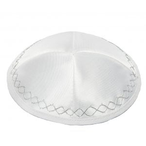 White Satin Kippah With Silver Geometric Border Design
