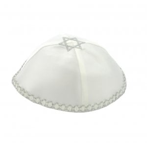 Satin Kippah With Silver Star Of David