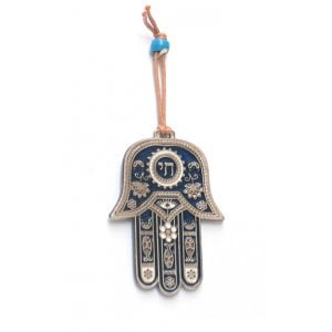 Hamsa Wall Decoration with Chai and Good Luck Symbols - Purple