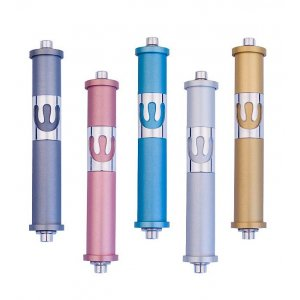 Medium Cylinder Mezuzah By Agayof- Light Colors