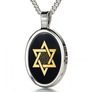 Nano Jewelry Oval Silver Song Of Ascents Star of David Pendant