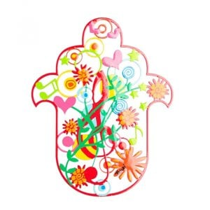 Tzuki Art Hand Painted Hamsa, Musical Notes - Red
