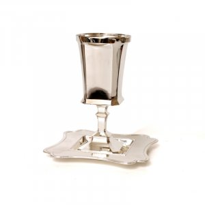 Silver Plated Square Stem Kiddush Cup And Base - Modern design