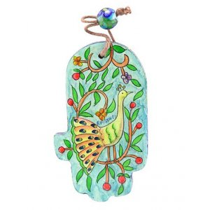 Yair Emanuel Small Green and Gold Wood Wall Hamsa - Peacocks