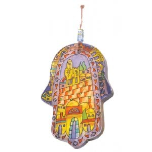 Yair Emanuel Large Hand-painted Glass Wall Hamsa - Jerusalem
