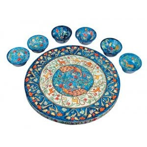 Yair Emanuel Hand Painted Wood Seder Plate with Bowls - Forest Scenes