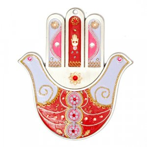 Red Wall Hamsa by Ester Shahaf