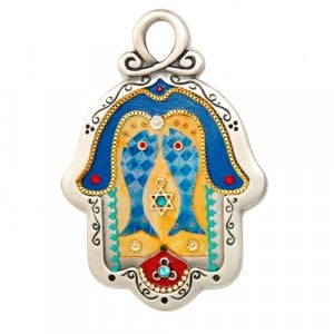 Fish design pewter wall Hamsa by Ester Shahaf