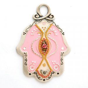 Baby Pink Pewter Wall Hamsa by Ester Shahaf
