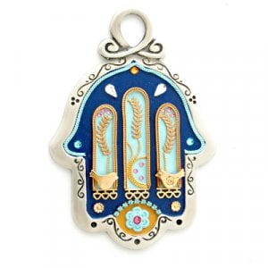Pewter Wall Hamsa - Wheat - by Ester Shahaf