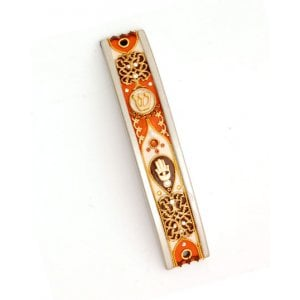 Curved Pewter Mezuzah Case in Autumn Shades by Ester Shahaf