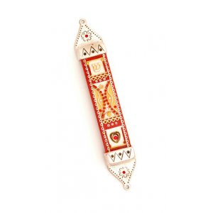 Wood and Pewter Mezuzah Red by Ester Shahaf