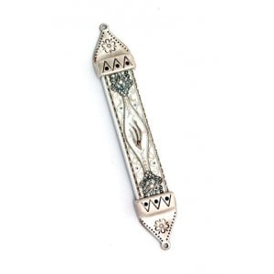 Wood & Pewter Mezuzah White and Silver by Ester Shahaf