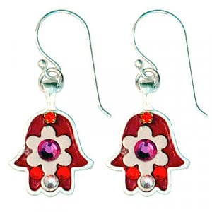 Pink and Red Flower Hamsa Earrings by Ester Shahaf