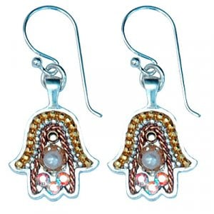 Silver Hamsa Earrings by Ester Shahaf