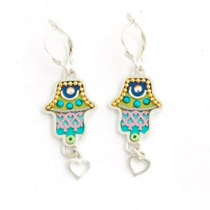 Green Heart Hamsa Earrings by Ester Shahaf