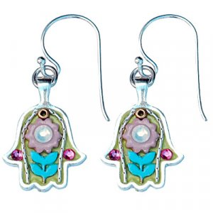 Turquoise-Green Silver Hamsa Earrings by Ester Shahaf