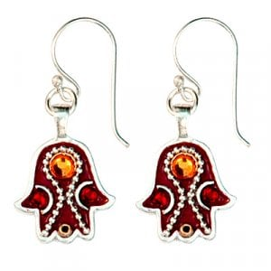 Maroon Hamsa Earrings by Ester Shahaf