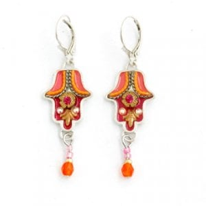 Shades of Orange Hamsa Earrings by Ester Shahaf