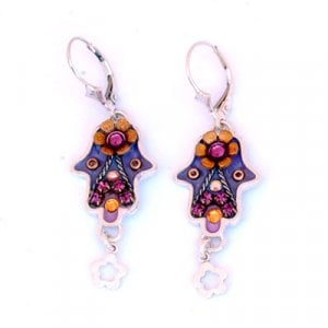 Oriental Hamsa Earrings in Silver by Ester Shahaf