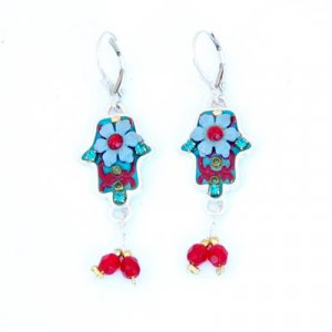 Blue-Red Hamsa Earrings by Ester Shahaf