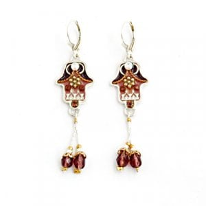 Autumn Shades Hamsa Dangle Earrings by Ester Shahaf