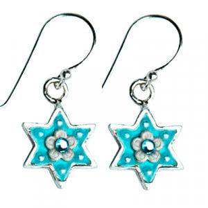 Blue-Silver Star of David Earrings by Ester Shahaf