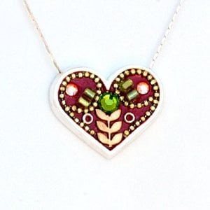 Maroon Heart Necklace in Silver - Shahaf