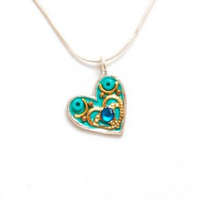 Heart Necklace in Turquoise by Ester Shahaf