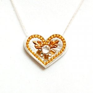 Silver Heart Necklace in Shades of Gold by Ester Shahaf