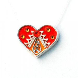 Silver Heart Necklace in Orange and Red by Ester Shahaf