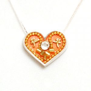 Silver Heart Necklace in Peach by Ester Shahaf