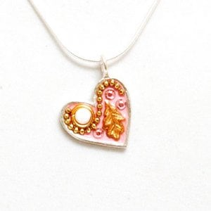 Pink Heart Necklace with Leaf by Ester Shahaf