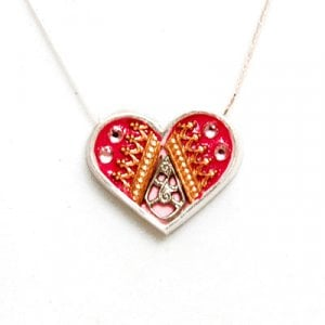 Silver Heart Necklace in Pink and Red by Ester Shahaf