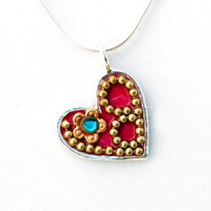 Red Heart in Silver by Ester Shahaf