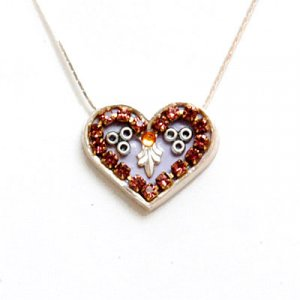 Silver Heart Necklace in Smoked Purple by Ester Shahaf