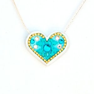 Silver Heart Necklace in Turquoise by Ester Shahaf