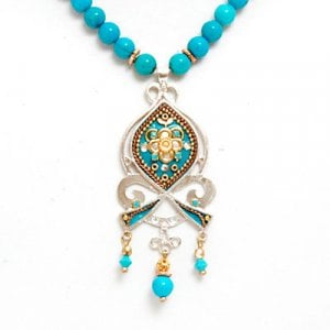 Silver Turquoise Beaded Necklace by Ester Shahaf