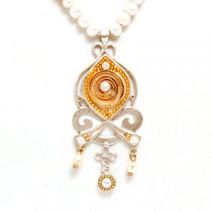 Silver Pearl Necklace with Pendant by Ester Shahaf